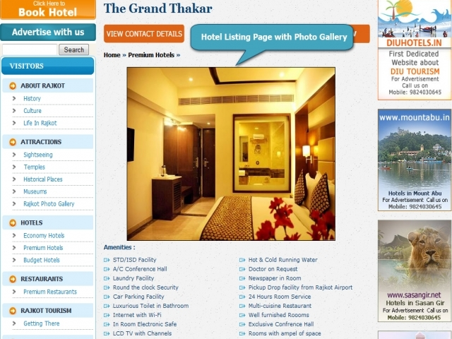 Hotel Listing Page with Photo Gallery